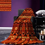 smallbeefly Primitive Throw Blanket Antique African Folkloric Motifs Primitive Tribal Art Ornaments Illustration Warm Microfiber All Season Blanket for Bed or Couch Orange Yellow