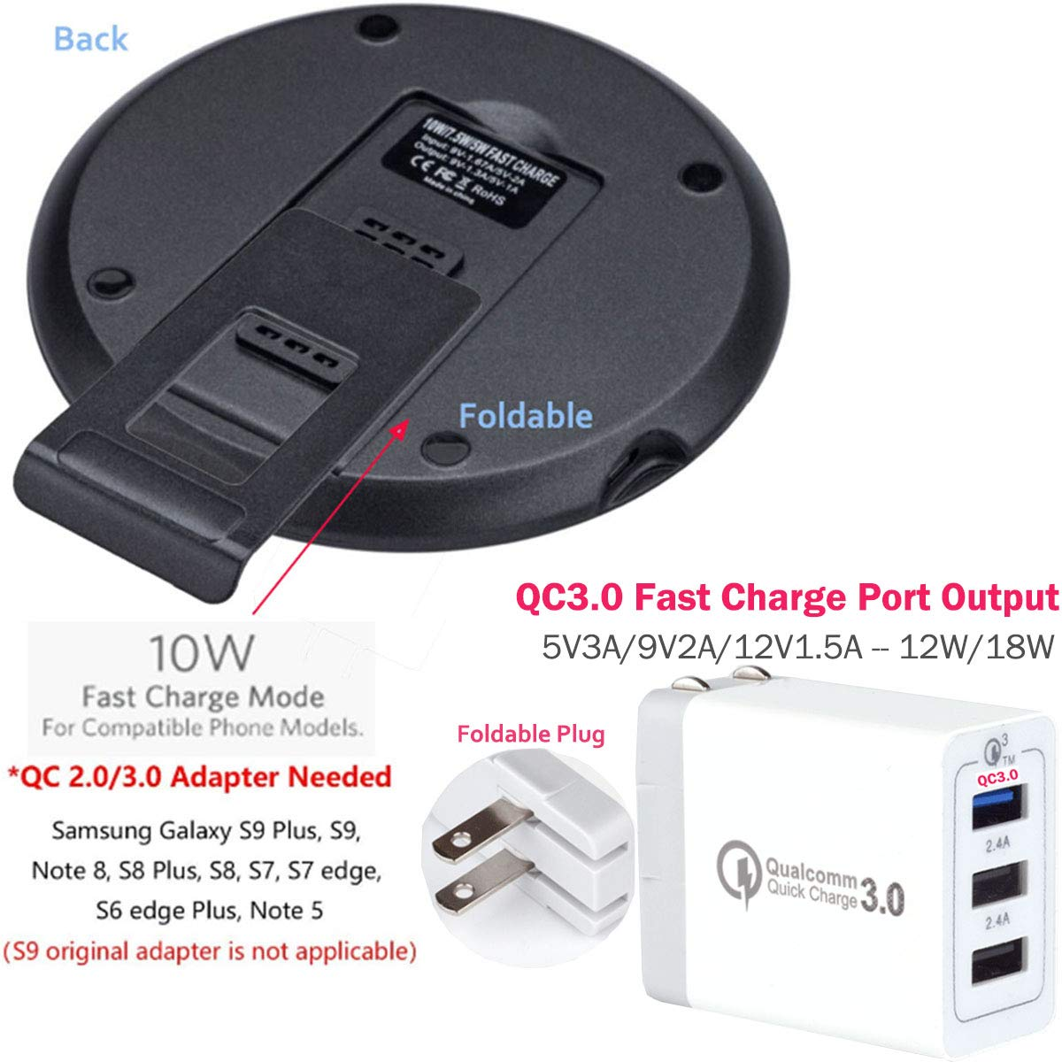 4dd6ce27bcd8e5 Amazon.com: Wireless QI Fast Charger + Triple QC3.0 USB Wall Adapter - LarKoo  Wireless Quick Charging Pad w/Detachable Magnet Foldable Phone Stand Holder  ...