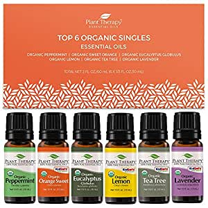 Plant Therapy Top 6 Organic Essential Oil Set - Lavender, Peppermint, Eucalyptus, Lemon, Tea Tree 100% Pure, USDA Organic, Natural Aromatherapy, Therapeutic Grade 10 mL (1/3 oz)