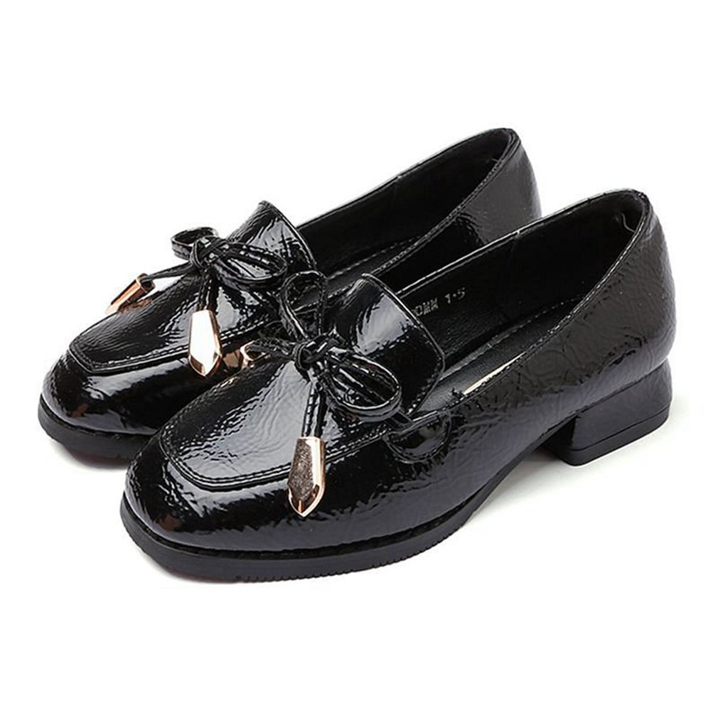 CYBLING Kids Toddlers Girls Penny Loafers Flat Low Heel Bow Leather Slip On Spring Oxfords Shoes