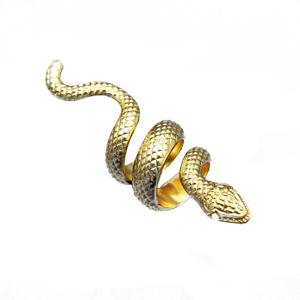 Hip Hop Ring Wrap, Snake, 18k Gold Plated Stackable Ring (Gold)