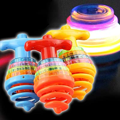 HHQueen LED Light Flashing Spinning Toy, Rotating Gyro Toy with Music Peg Top Toy, Easy to Play, Random Color: Kitchen & Dining