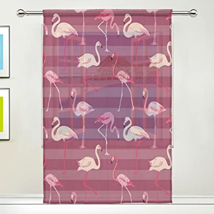 Amazon.com: ALAZA Full Screen Summer Pink Flamingo Decor Sheer ...