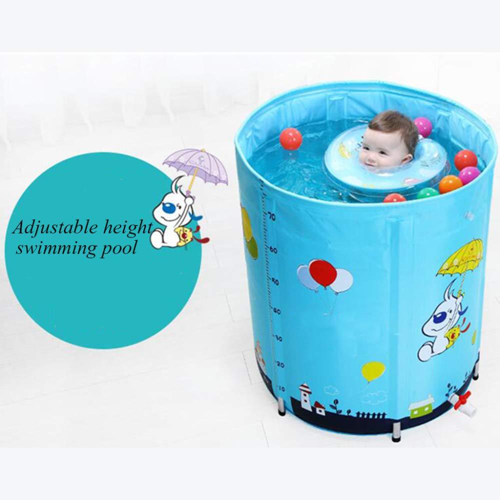 ZHKGANG Home Schwimmbad Baby Bracket Großes Baby Isolationsbad Fass Indoor Kinder Dickes Planschbecken,Blau-70  80cm-B Blau-7080cm-b