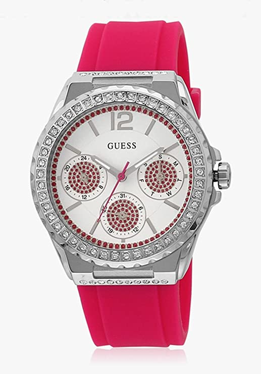 Amazon.com: Guess Starlight Womens Watch Pink Rubber W/ Glitz W0846L2: Watches