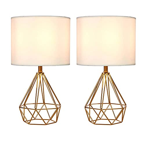 SOTTAE Golden Hollowed Out Base Modern Lamp Bedroom Livingroom Beside Table Lamp, 16 Desk Lamp with White Fabric Shade Set of 2