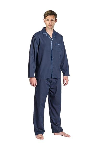 para Hombre Tradicional de Manga Larga para Pijama. Azul Marino, Gris o Azul.