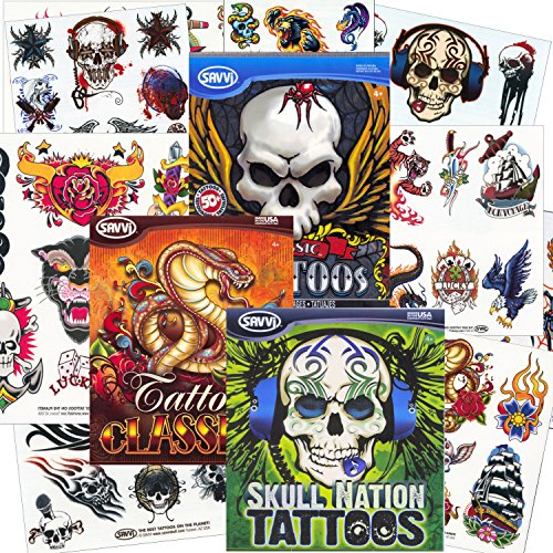 Savvi Classic Tattoos Party Pack (3 Full-sized Bags ~ 125 Tattoos)