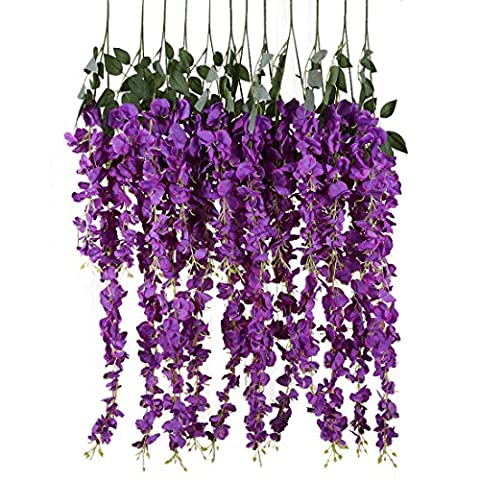 Conjugal Bliss Artificial Fake Wisteria Vine Ratta Hanging Garland Silk Flowers For Garden String Home Party Wedding Decore Simulation Flowers (purple)