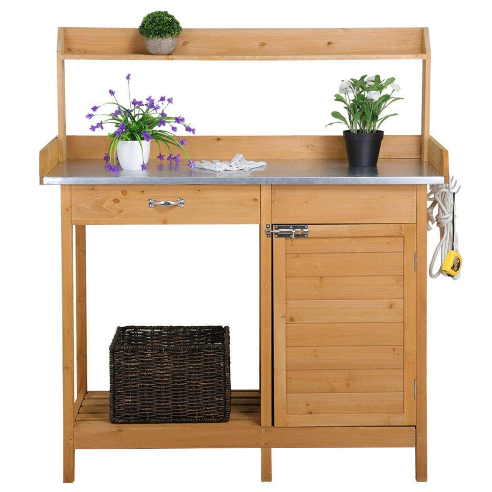 lunanice Outdoor Outside Size 44.1 x 18.1 x 49.2'' (LxWxH) Garden Potting Bench Potting Table Cabinet Drawer Open Shelf Natural Wood