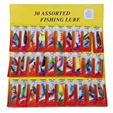 SODIAL(R) 30 Fishing Lures Set Feather Spinners Plugs Spoons Bass Pike Trout Salmon Baits
