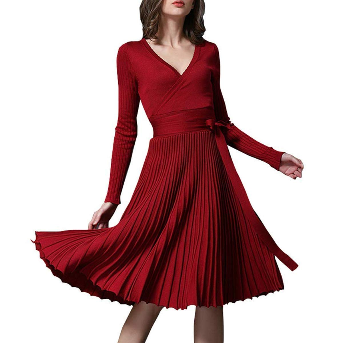 70eb789be81 Details. Midi Winter Dresses for Women Spring Pleated Knit Long Sleeve V  Neck Knee Length Surplice A-line Elegant Wrap Dress