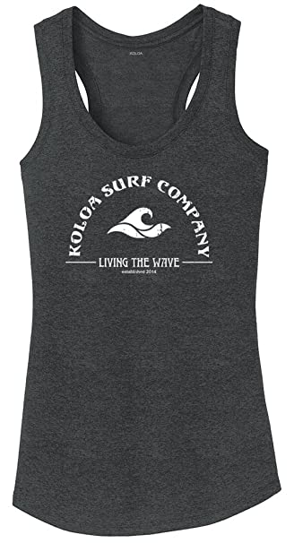 5201c5488c5ac Koloa Surf Ladies Living The Wave RacerbackTank Top-XS-Black Frost White