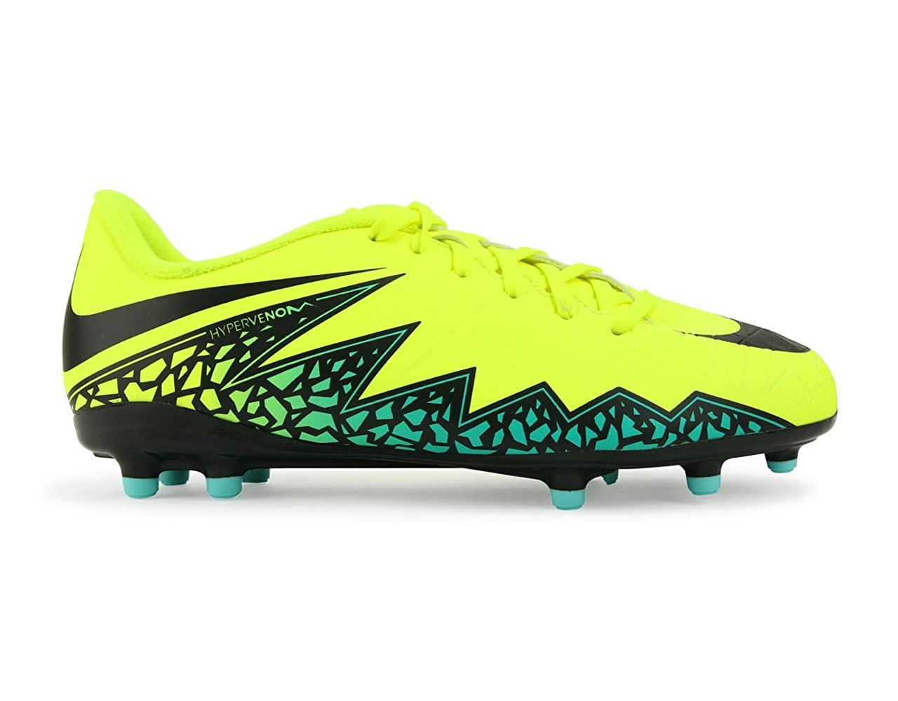 huge discount 30c00 8755b Amazon.com   Nike Kids Hypervenom Phelon Ii Fg Volt Black Hyper Turquoise Clear  Jade Soccer Shoes - 1Y   Athletic