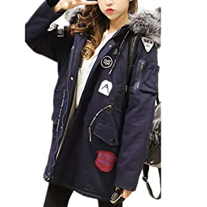 Yougao Women's Long Jacket Quilted Coat Casual Parkas with Faux Fur Hood Navy