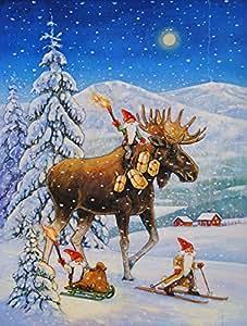 Caroline tesoros del acg0102chf equitación gnomo de Navidad renos lona casa bandera, grande, Multicolor