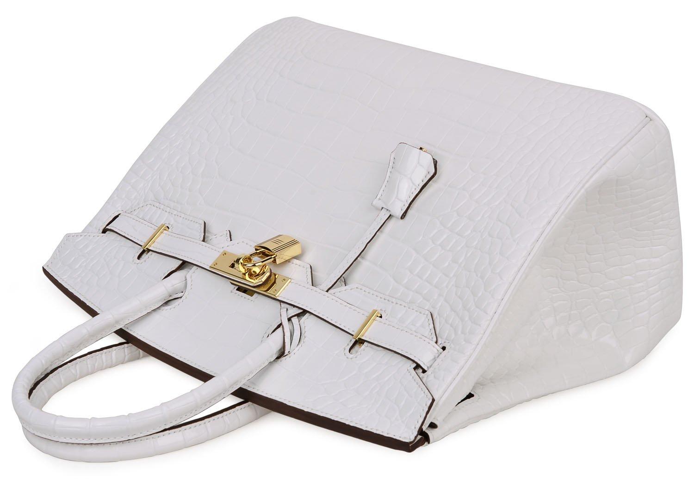 Cherish Kiss Padlock Bag Women Crocodile Leather Top Handle Handbags (35cm, Pure white) by Cherish Kiss (Image #6)
