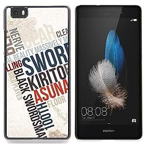 """Qstar Arte & diseño plástico duro Fundas Cover Cubre Hard Case Cover para Huawei Ascend P8 Lite (Not for Normal P8) (Tipografía cartel"""")"""