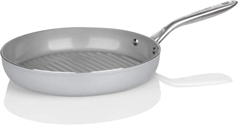 Techef Ceraterra Collection 12 Ceramic Nonstick Grill Pan Ptfe And Pfoa Free Ceramic Exterior Interior Made In Korea 12 In Grill Pan Kitchen Dining