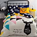Deep Sleep Home 3pc 100% Flannel Duvet Cover Set, Printing Raindrops, Soft Warm, Zipper Close, Full Size Reversible Flannel Bedding Set