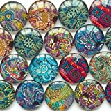 "50pcs/lots 10-16mm Round Glass Mixed Stained Glass Pattern Cabochon Handmade D.I.Y. Jewelry Embellishments Suppies for Jewelry Craft (16mm/0.63"")"