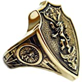 Siamhandmade2014 Games of Thrones House Lannister Ring, Hear Me Roar Lannister Lion Brass Ring (BR- 43)