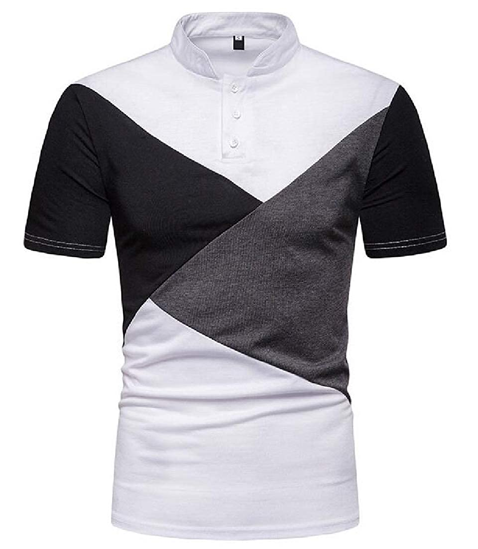 BYWX Men Stand Collared Summer Casual Short Sleeve Stylish Polo Shirt