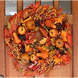 Montgomery Hollow Silk Fall Door Wreath 24 inch