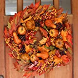 Montgomery Hollow Silk Fall Door Wreath 26 inch - Large Autumn Door Wreath For Outdoor Display, White Storage Gift Box Included