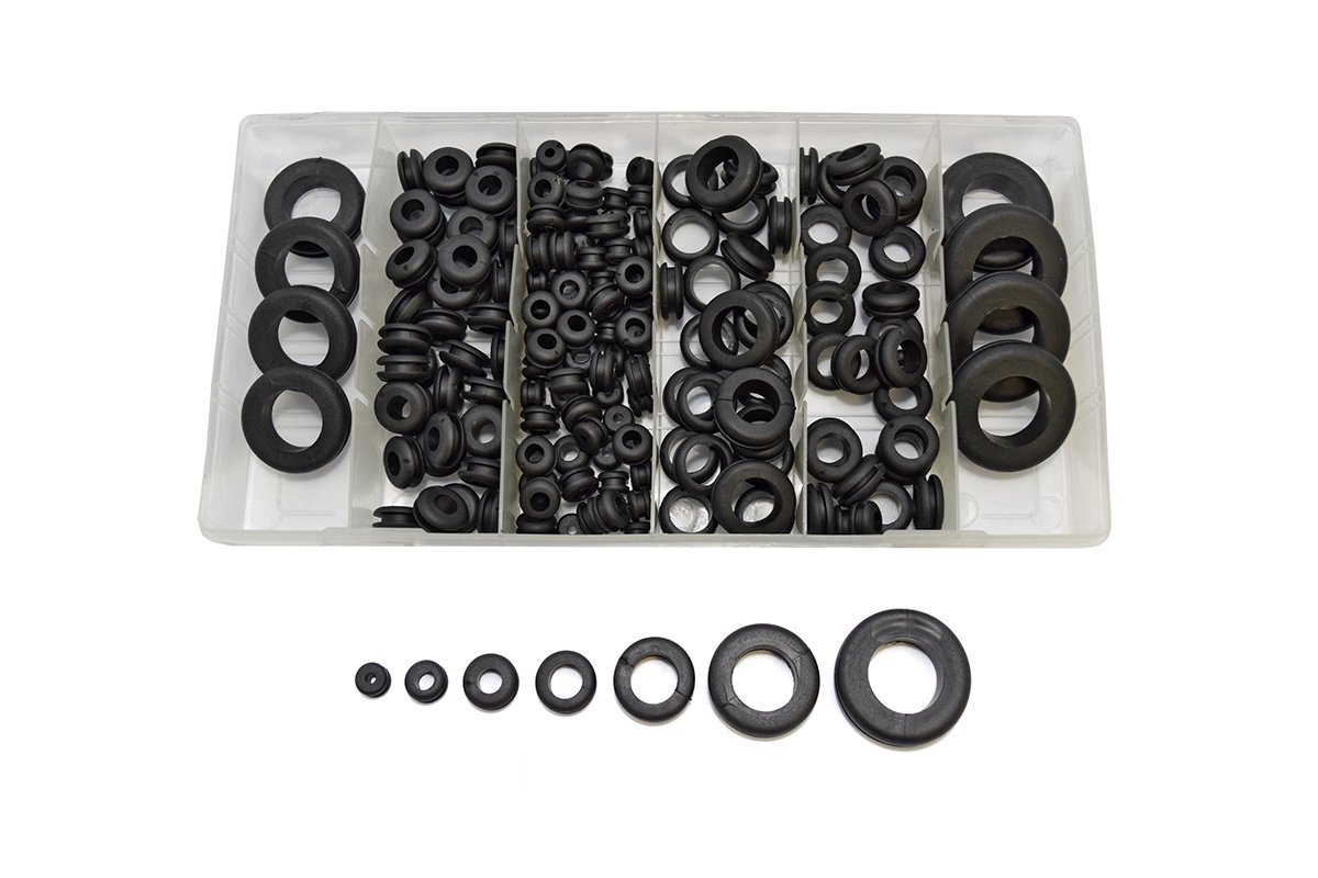 McKay 180 Pc Round Rubber Grommet Assortment Set: Ideal Electrical Conductor Gasket Ring Tool for Cables, Plugs & Wires