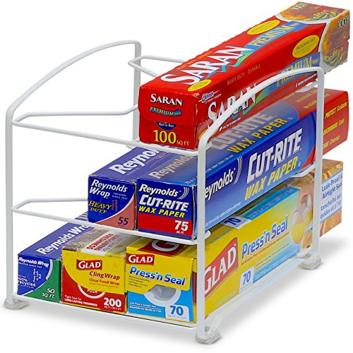 (Simple Houseware Kitchen Wrap Organizer Rack, White)