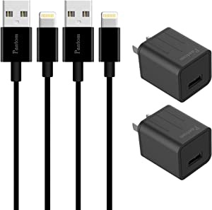 Pantom 2-Pack Wall Charger Adapter and 2-Pack 5-Feet Cables Charge Sync Compatible with iPhone 11/11 Pro/11 Pro Max/Xr/Xs/Xs Max/X/8/8 Plus/7/7 Plus/6/6 Plus/5/5s/5se, iPad Pro/Mini