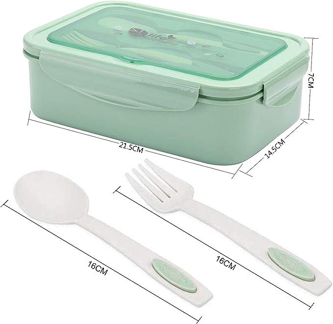 miuse Brotdose Lunch-Boxen Kinder Vesperdose Mikrowelle Heizung Bento Box Lunchbox mit 3 F/ächern und Besteck