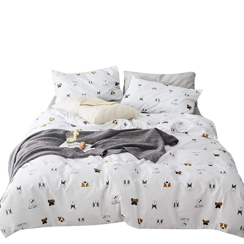 MKXI Soft Cotton Duvet Cover White Botanical Garden Plants Printing Reversible Gray Kids Bedding Twin Size Bed Cover MKGN-LoewsT