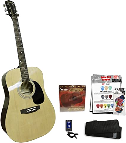 Fender Guitarra Acústica Natural starcaster Kit: Amazon.es ...