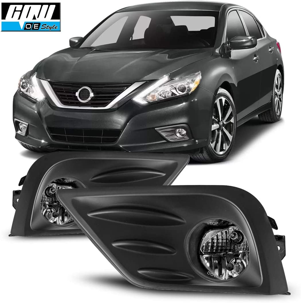 Pair of Front Bumper Clear Fog Light Lamps+Wiring+Switch For Nissan Sentra 2016-2018