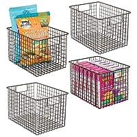 "mDesign Farmhouse Decor Metal Wire Food Storage Organizer, Bin Basket with Handles for Kitchen Cabinets, Pantry, Bathroom, Laundry Room, Closets, Garage - 12"" x 9"" x 8"""