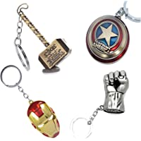 One Point Collections Metal Alloy Marvel Merchandise Avengers Series Thor, Captain America, Irom Man, Hulk Keyring (Gold and Grey) - Pack of 4