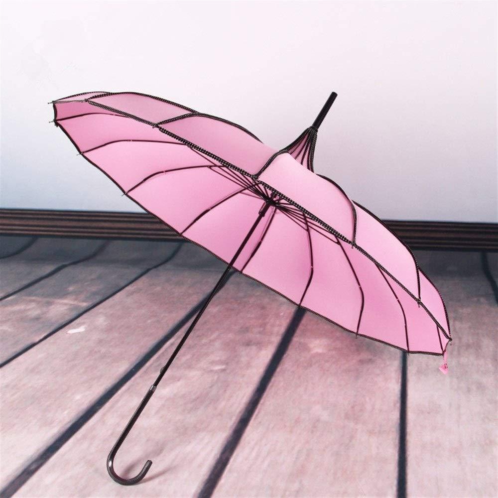 16k Lunga gestire Pagoda Ombrello T-M Ombrello Color : Violet Vintage Antivento Compatto Parasole Pioggia Principessa Ombrello con Gancio Maniglia