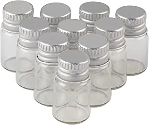 TAI DIAN 2ml Clear Transparent Mini Glass Sealed Bottle with Screw Aluminum Cap Mini Tiny Vials Containers Mini Cute Wishes Bottle Metal Hood 24units (24, 2ML)