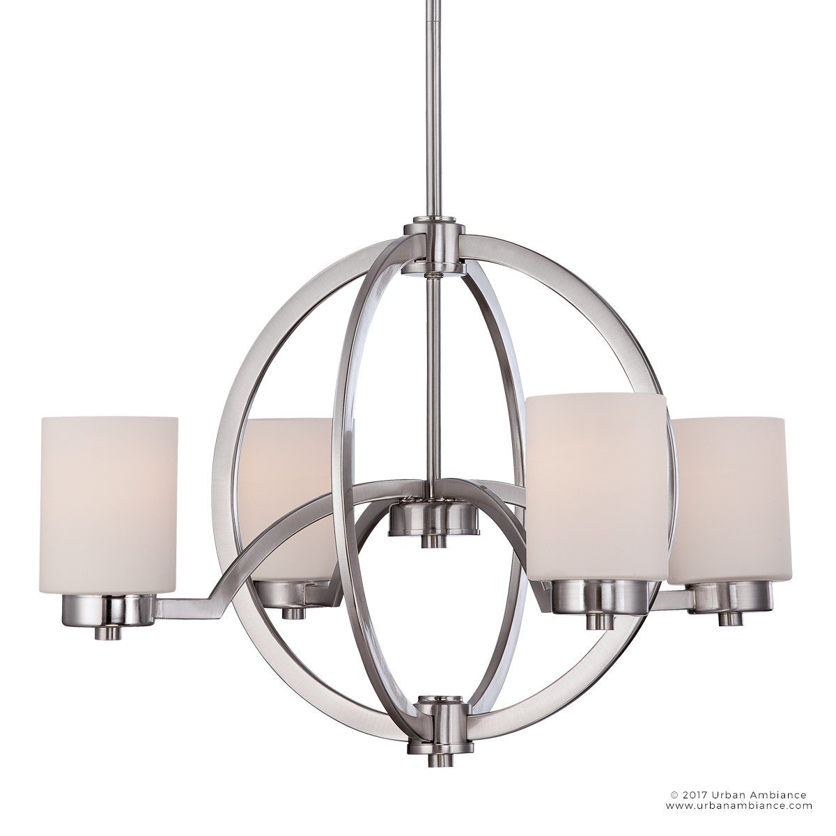 Luxury Contemporary Chandelier, Medium Size: 16''H x 25''W, with Traditional Style Elements, Globe Design, Pretty Brushed Nickel Finish and Opal Etched Glass, UQL2170 by Urban Ambiance