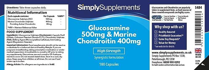 Glucosamina 500mg y Condroitina 400mg - 360 cápsulas - Hasta 1 año de suministro - Favorece unas articulaciones sanas- SimplySupplements: Amazon.es: Salud y ...