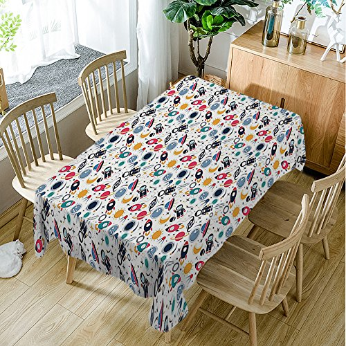 Moslion Spaceship Elements Astronomy Multicolor Table Cover 60W X 90L Inches Table Cloth for Dining Table Cloths
