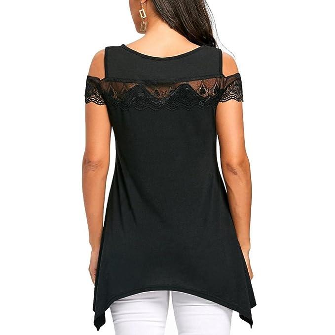 Mamum Frau trägerlos Spitze T-Shirt exy Mode trägerlose Spitze Kurze ...