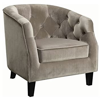 Good Coaster Velvet Upholstered Tufted Accent Chair In Taupe