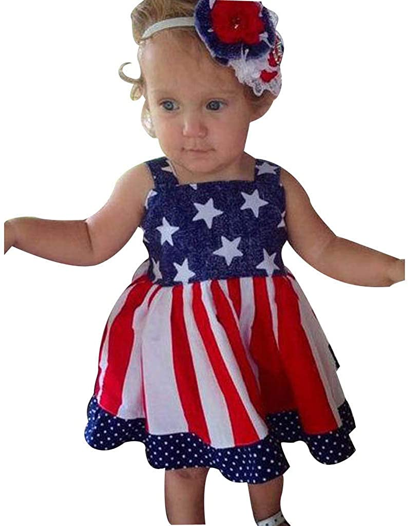 Lurryly Kids Baby Girls Dress Bow Solid Sleeveless Dresses Clothing Outfits 3-8 T