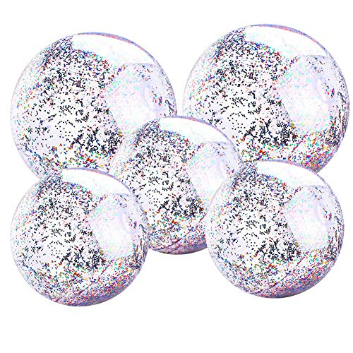 5 PCS Glitter Beach Balls, Inflatable Pool Balls Sparkling Holographic Glitter Confetti Beach Ball Pack Bulk Jumbo Transparent Sequin Inflatable Ball (15.7 Inch-3 Pieces, 23.6 Inch-2 Pieces)