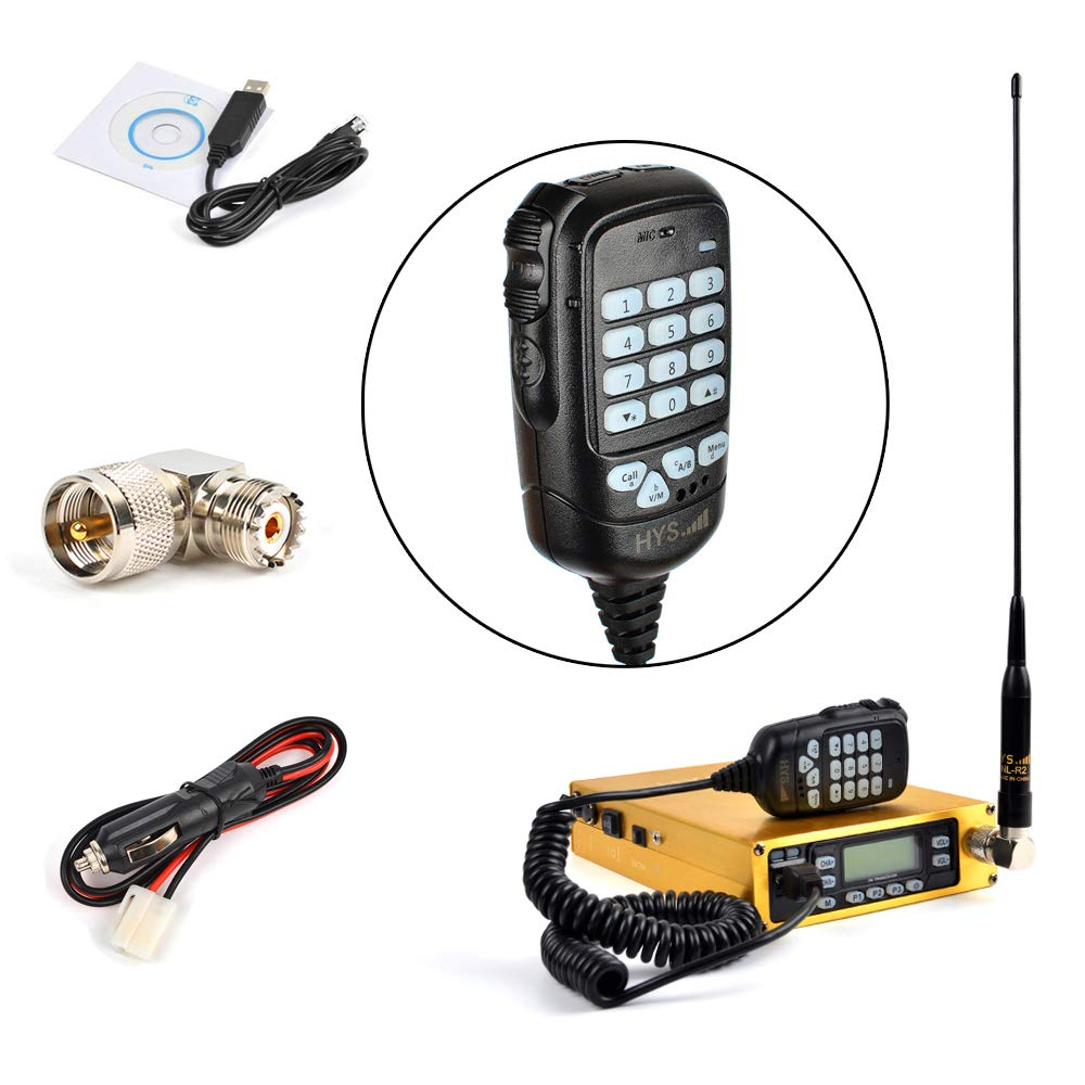 HYS 25W Dual Band VHF UHF Mobile Transceiver Golden Mobile Ham Radio Amateur Radio Built-in 12000mAh Battery with Programming Cable Antenna SO239 to PL259 Adapter A Complete Set of