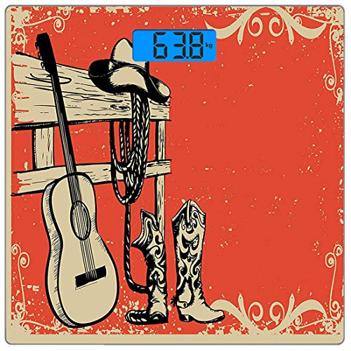 Precision Digital Body Weight Scale Western Ultra Slim Tempered Glass Bathroom Scale Accurate Weight Measurements,Image of Wild West Elements with Country Music Guitar and Cowboy Boots Retro Art,Brown