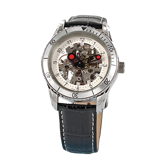 Jouailla - Reloj Hombre Automático, caja acero pulsera serraje de piel de búfalo imitación cocodrilo: Amazon.es: Relojes